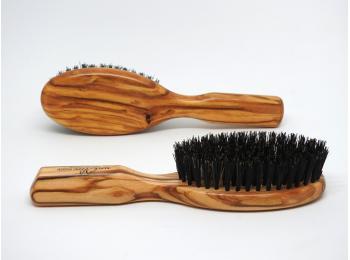 Brosse à cheveux bois d'olivier et poils de sanglier
